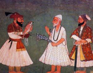 3. Guru Gobind Singh (à gauche) rencontre Guru Nanak Dev, peinture indienne XVIIIe s.