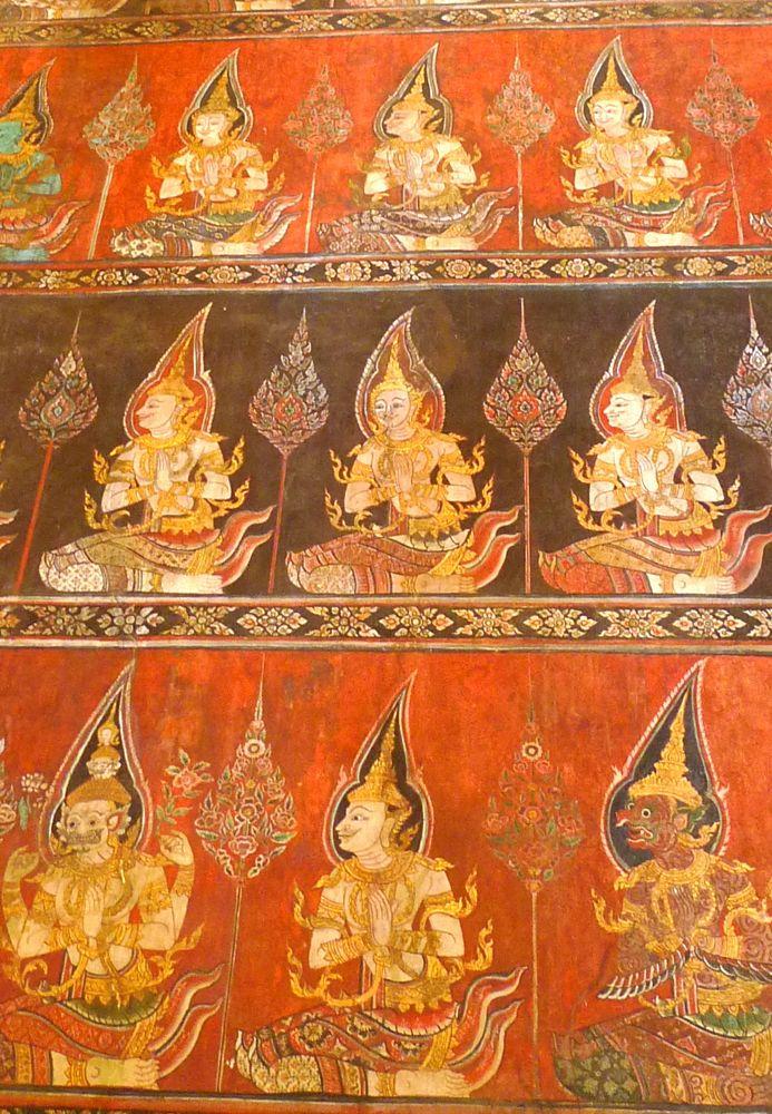 4 Capilla Buddhaisawan Criaturas Celestes Pintura Al Temple