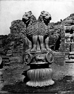 Chapiteau d'Ashoka (250 av.JC) à quatre têtes de lion de Sarnath