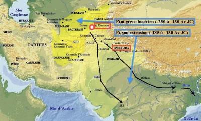 Carte de la Bactriane et du Royaume indo-grec