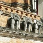 Wat Chedi Luang, chedi principal aux éléphants (détail)