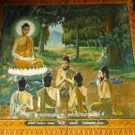 Wat Puttha En, viharn, peinture du sermon de Sarnath