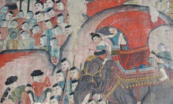 Principessa su un elefante da guerra con le sue truppe