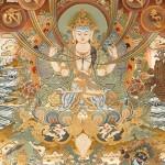 Chenrezig entouré des syllabes mystiques (thangka tibétain)