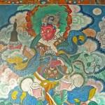Roi gardien de l'Ouest, Virupaksha, roi des Naga, peinture murale