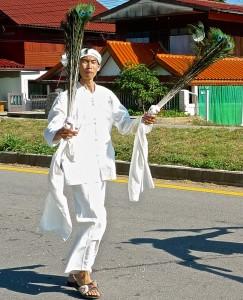 Défilé, jongleur aux plumes de paon