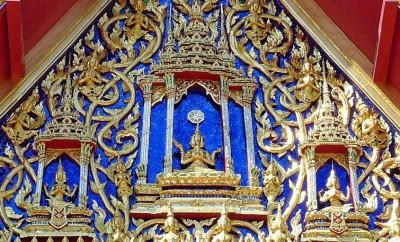 Fronton de la Chapelle, avec les Brahma faisant le wai