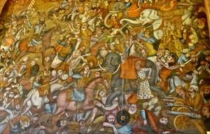 Peinture murale, bataille de Karnal (Delhi) entre Nader Shah Afshar et le roi de l'Inde Mohammad Shah Gurkani, XVIIIe siècle, détail