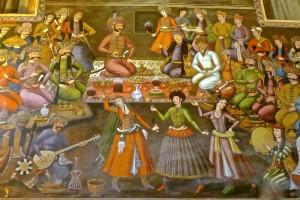Peinture murale, réception du gouverneur du Turkestan Nadr Mohammad Khan par le Shah Abbas IIe, XVIe siècle, détail