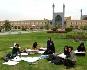 Esfahan, Place de l'imam, classe de dessin