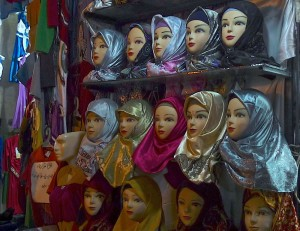 Kerman, Bazar-e Sartasari, le marchand d'hijab
