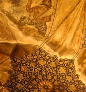 Peintures du plafond, détail, homme armé d'une claie