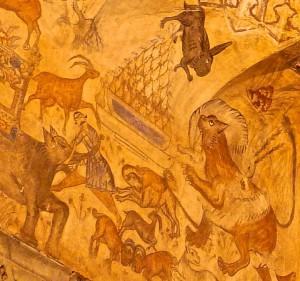 Peintures du plafond, détails, animaux  et figure humaine