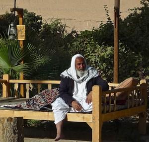 Yazd, Bagh-e Dowlat, visiteur