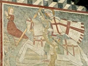 St Georges, en présence de la fille du roi de Lydda, tue le dragon