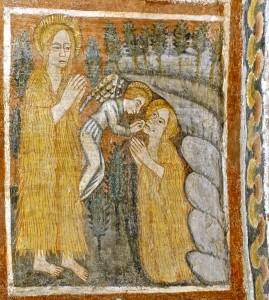 Elle se retire dans la grotte de la Sainte Baume où elle est miraculeusement nourrie par un ange