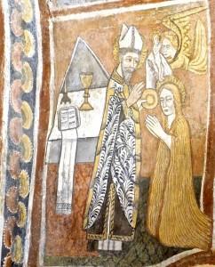 La Sainte reçoit les Sacrements de la main de l'évêque Maximin puis un ange transporte son âme au ciel