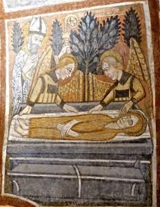 Le corps de la Sainte est déposé au tombeau par deux anges en présence de Saint Maximin