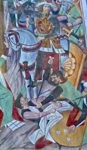 Les soldats jouent les habits de Jésus aux dés; à l'arrière, à cheval, le centurion Abenader, chef des gardes romains