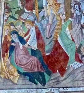 Les Saintes Femmes sous la croix : Marie, Marthe, Madeleine, Salomé, Marie de Cléophas et l'apôtre Jean
