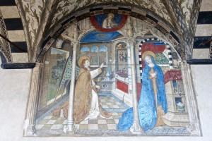 L'Annonciation, par Giusto de Ravensburg ou Joos Ammann von Ravensburg, et autres peintres inconnus, 1451; Giusto était responsable du cycle de peintures et de la décoration