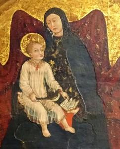 Marie avec l'Enfant entre deux anges, peintre ligure inconnu, 1450-1452, détail