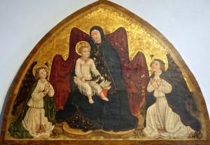 Marie avec l'Enfant entre deux anges, peintre ligure inconnu, 1450-1452