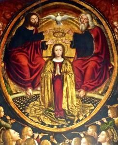 Retable de tous les Saints, détail : Couronnement de Marie