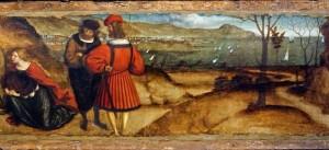 Retable de tous les Saints, prédelle, détail : vue de la côte ligure entre Gênes et le Mont de Portofino