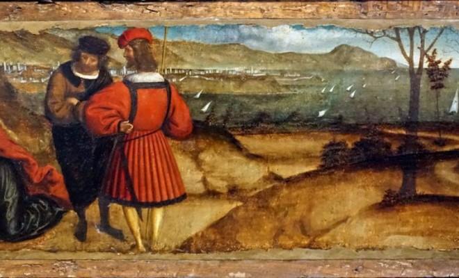 Altaraufsatz, Predella : eine Ansicht der ligurischen Küste von Genua bis zum Berg von Portofino