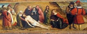 Retable de tous les Saints, prédelle, détail : complainte pour le Christ défunt