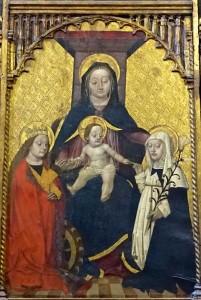 Polyptique de Sainte Catherine, Noces mystiques entre Sainte Catherine de Sienne et Sainte Catherine d'Alexandrie en présence de Marie et l'Enfant, Maître aux yeux baissés, 1475