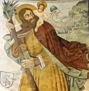 Saint Christophe portant l'Enfant Jésus, peinture de Secondo del Bosco