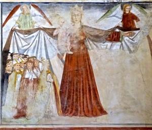 La Madone de la Miséricorde accueillant le clergé et les laïcs (pas visibles), peinture de Secondo del Bosco
