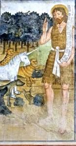 Saint Jean Batiste prêchant aux animaux, peinture de Secondo del Bosco