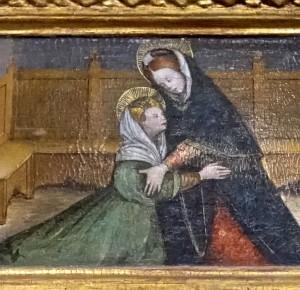 Prédelle du triptyque, détail : la Visitation de Marie