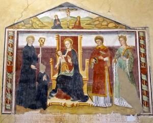 Madone de la poire avec l'Enfant et quelques saints dont l'un présente le commanditaire, peinture de Secondo del Bosco