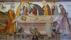 Grande fresque, le Christ déposé dans son tombeau