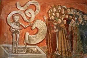 Le prêche aux morts, en français et latin, peinture de Secondo del Bosco, 1505-10